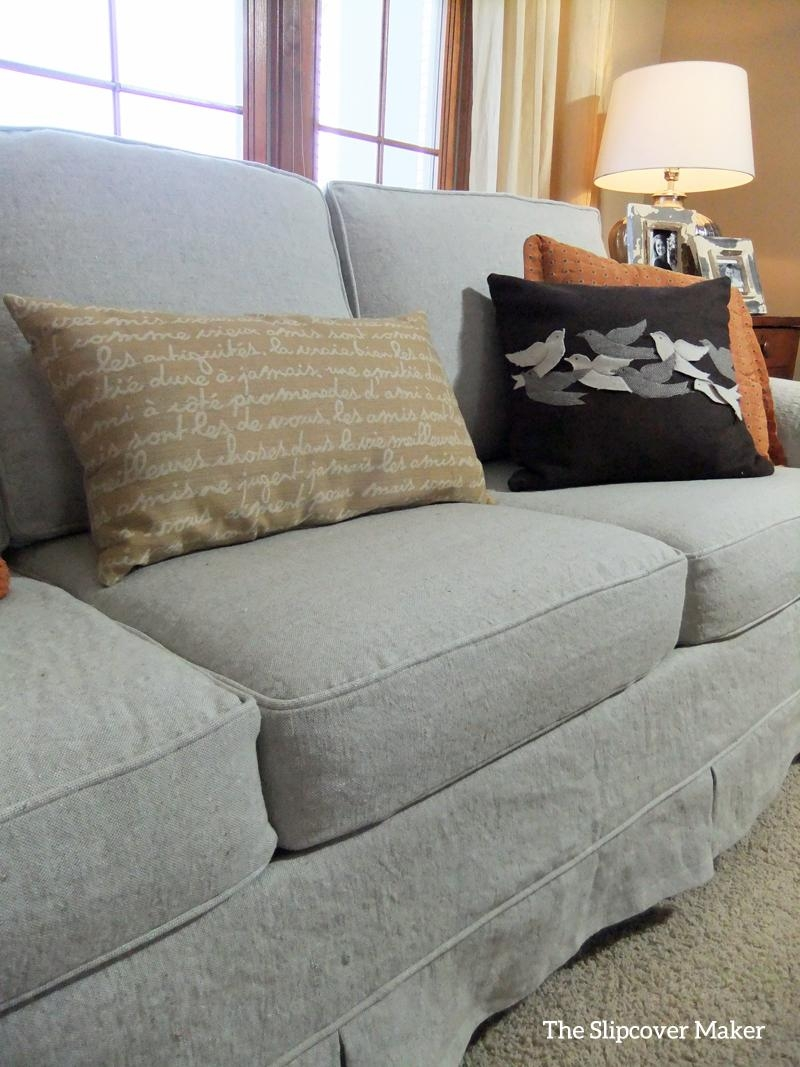 Linen Sofa Slipcover Makeover | The Slipcover Maker With Regard To Canvas Slipcover Sofas (Image 13 of 20)