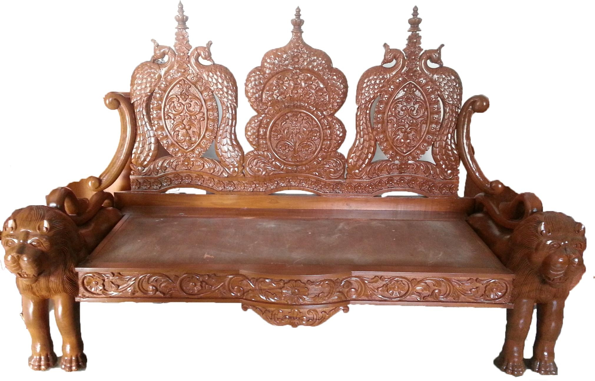 Lion Carving Wooden Sofa | Indiabizclub Intended For Carved Wood Sofas (Image 14 of 20)
