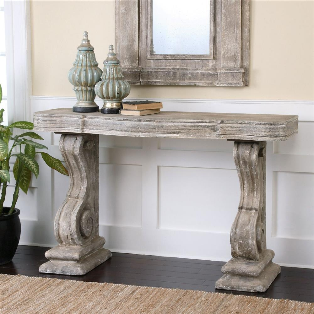 Lisette French Country Antique Grey Stone Carved Console Table In Country Sofa Tables (Image 15 of 20)