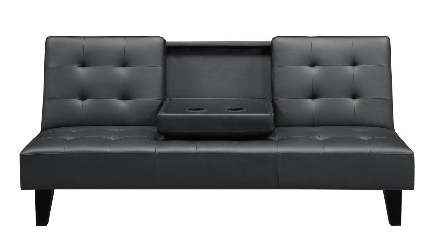 Living Room : Appealing Sharp Black Leather Sofa Bed Having Sturdy Pertaining To Chintz Sofa Beds (Image 10 of 20)