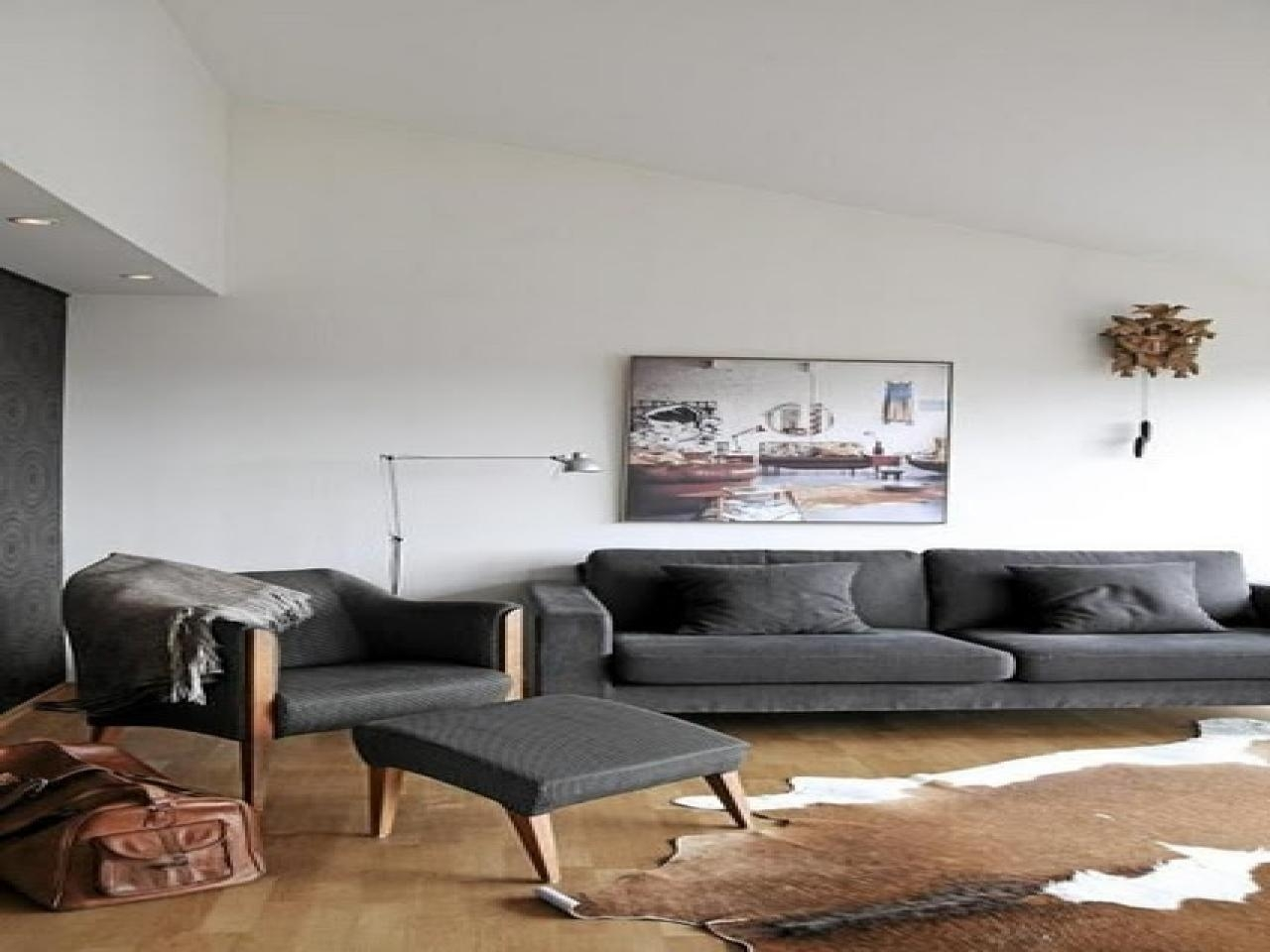 Living Room Brown Cowhide Rug, Grey Sofa Brown Cowhide Rug Home Throughout Cowhide Sofas (Image 17 of 20)