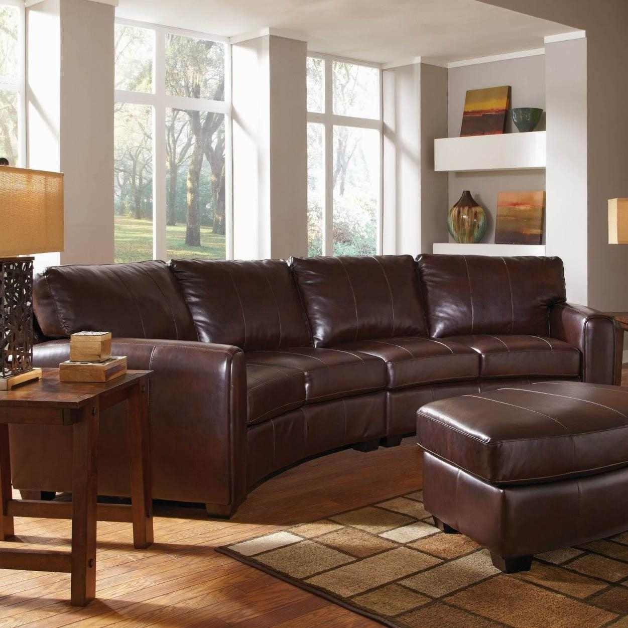 Living Room: Circular Leather Sofa With Curved Sectional Regarding Leather Curved Sectional (Image 13 of 20)