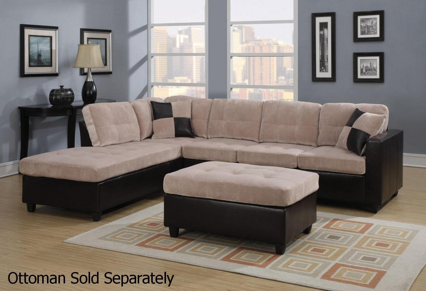 Living Room: Coaster Sectional | Darie Leather Sectional Sofa Inside Leather And Suede Sectional (View 7 of 20)