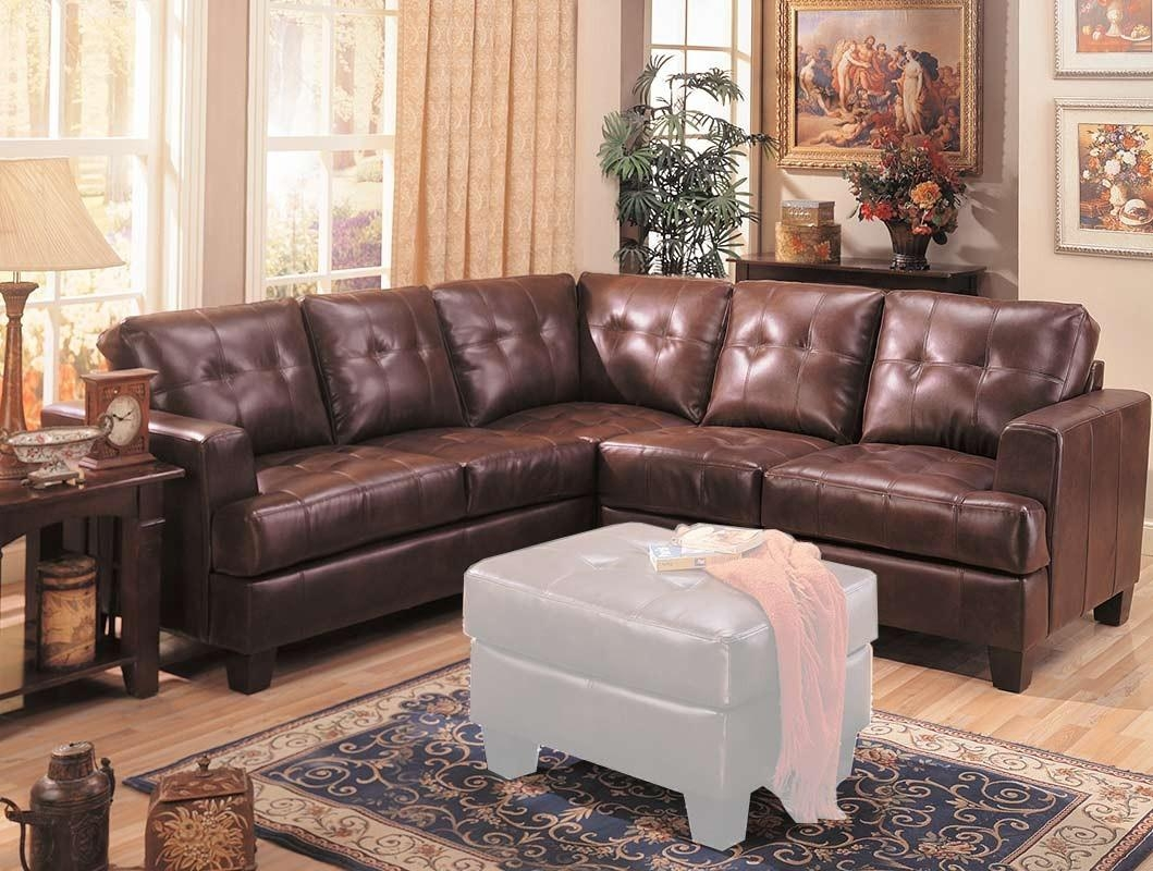 Living Room: Coaster Sectional | Dark Brown Leather Sectional Intended For Leather And Suede Sectional (Image 19 of 20)