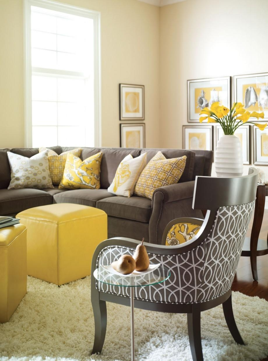 Living Room Decorating With Yellow Color Quiet Design With Brown Throughout Brown Sofas Decorating (Image 17 of 20)