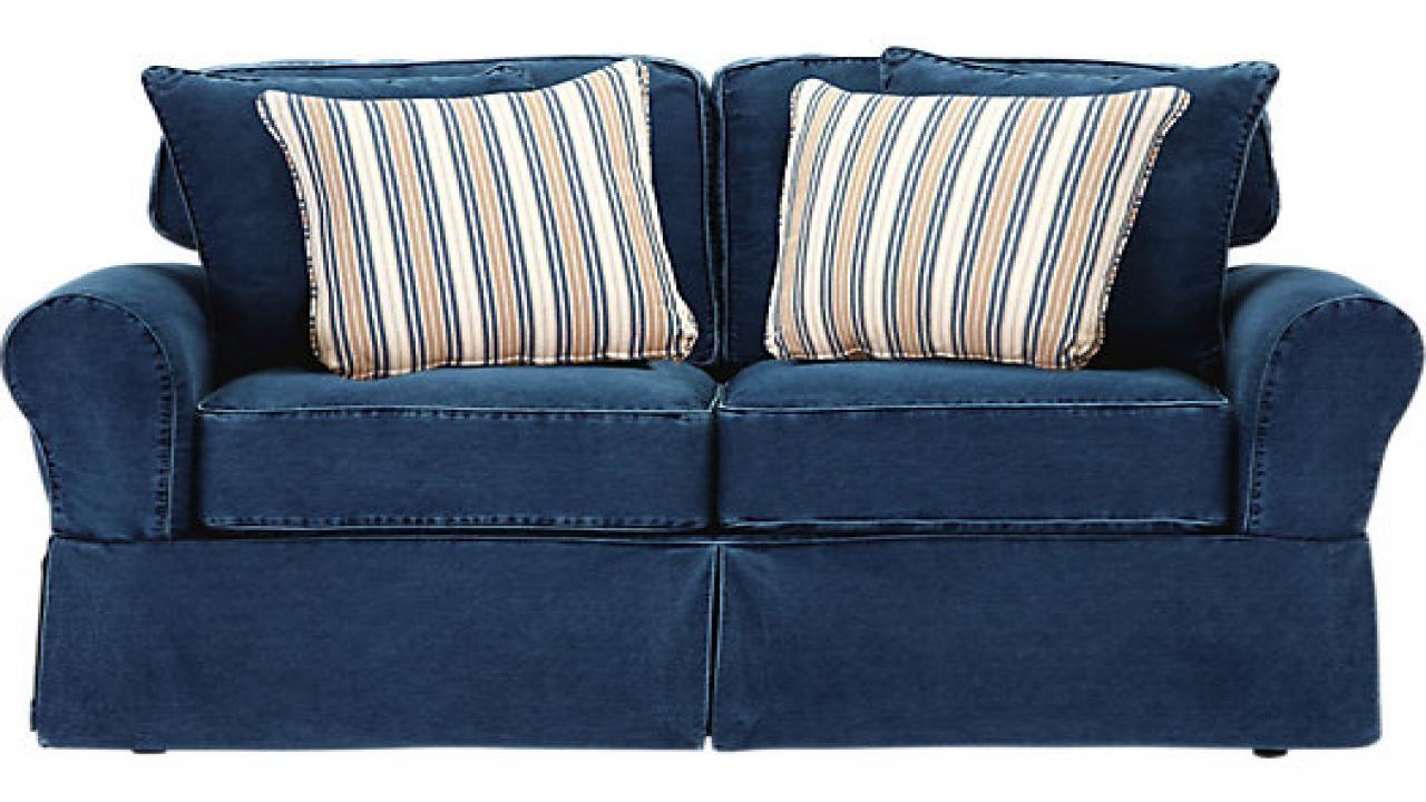 Living Room Denim Blue Bench Cushion, Crawford Home Beachside Blue Regarding Denim Loveseats (Image 14 of 20)