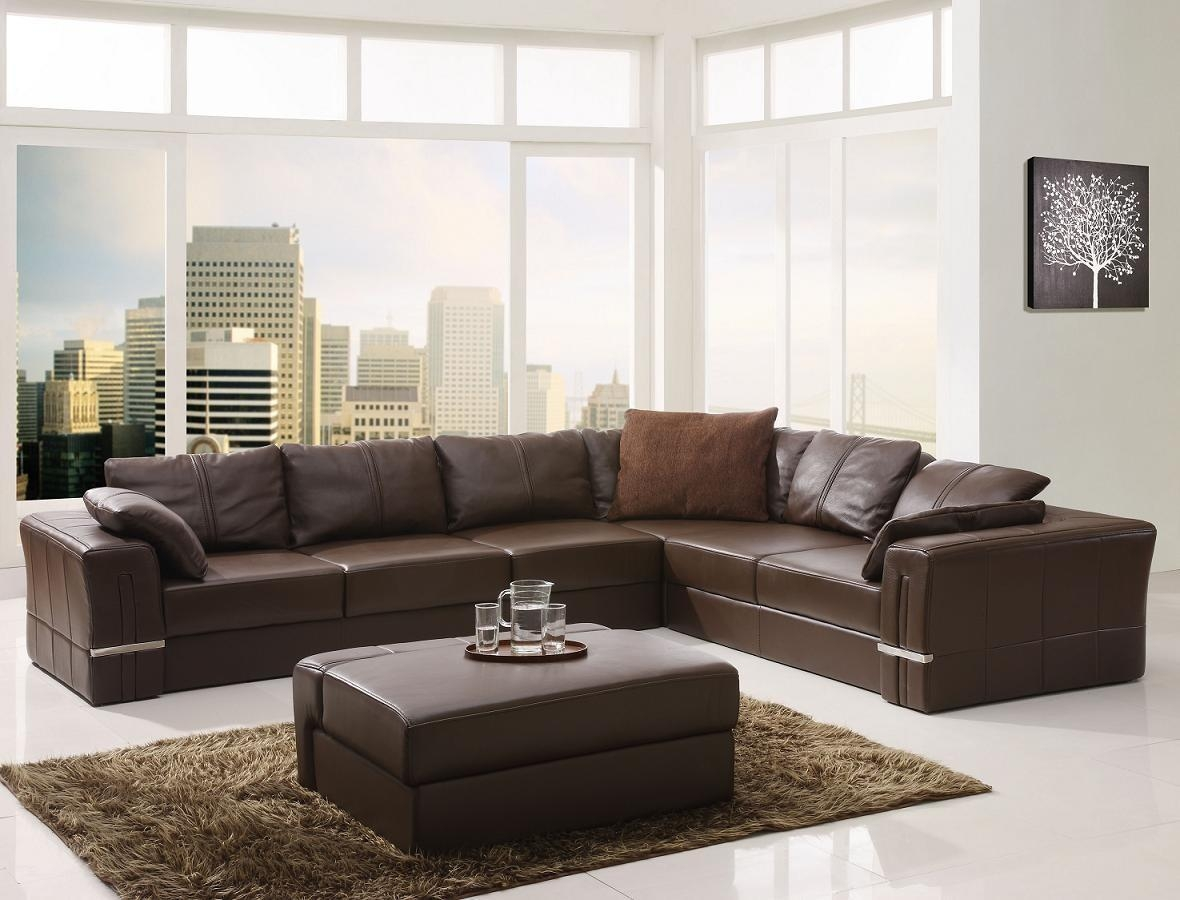 Living Room ~ Elegant Brown Leather Sectional Sofas Brown Cushions With Regard To Elegant Sectional Sofa (Image 13 of 15)