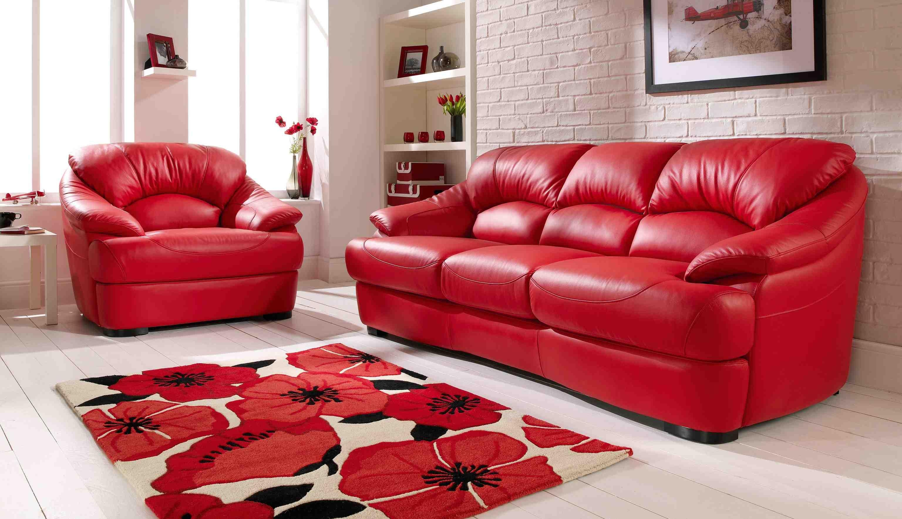 Living Room: Enchanting Red Living Room Chairs Design Small Red Pertaining To Red Sofas And Chairs (Image 8 of 20)