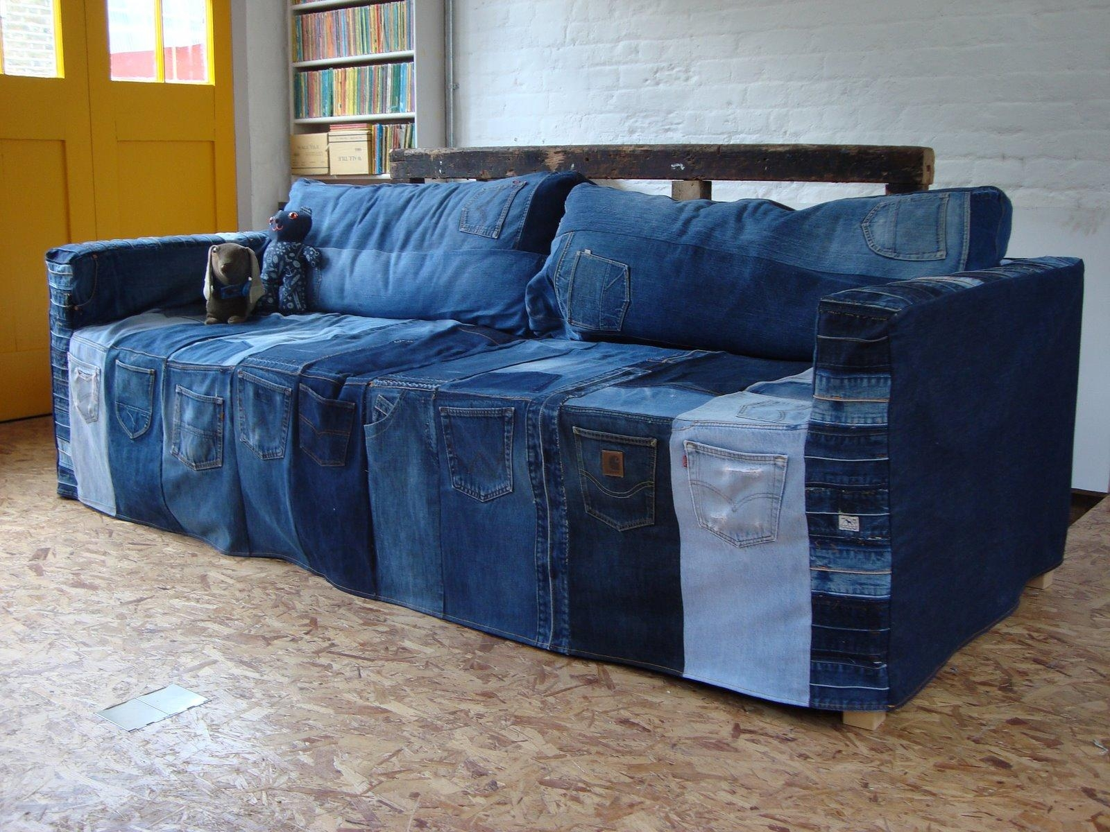 Living Room: Exciting Denim Sectional Sofa Design For Living Room In Blue Jean Sofas (View 5 of 20)