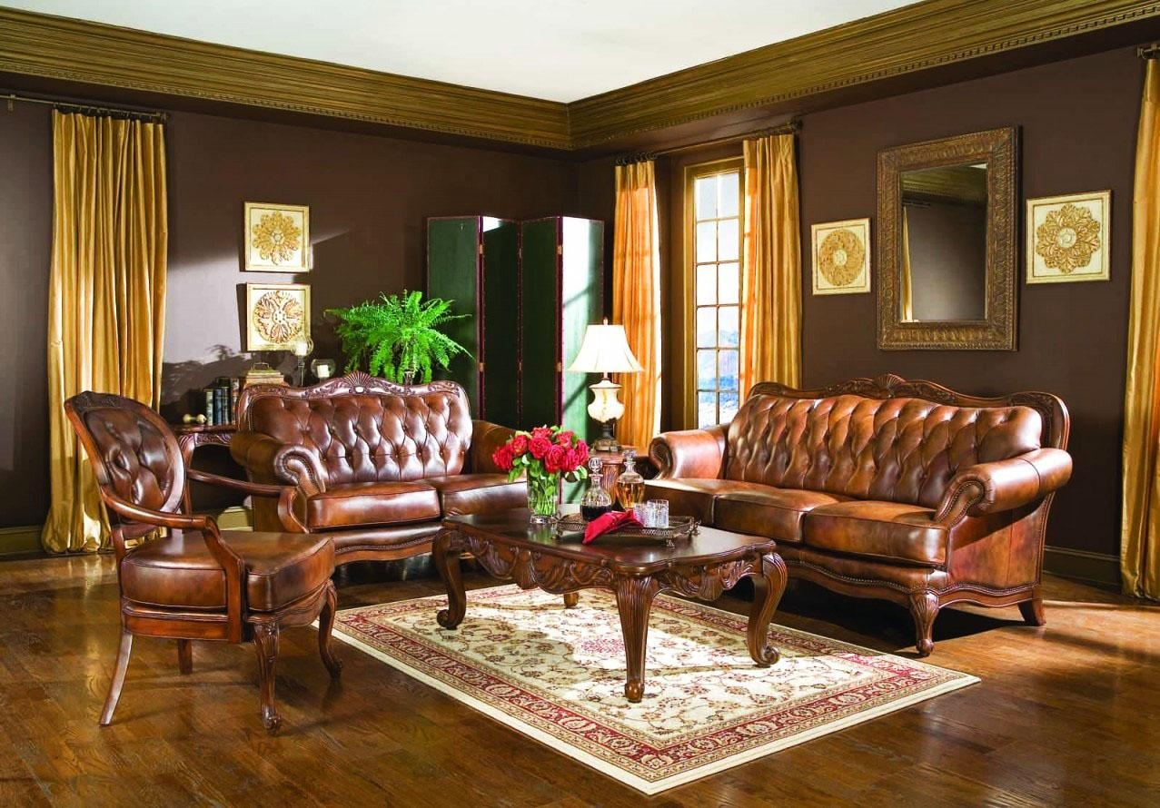 Living Room : Fascinating Victorian Living Room Design With Luxury Regarding Victorian Leather Sofas (Image 8 of 20)