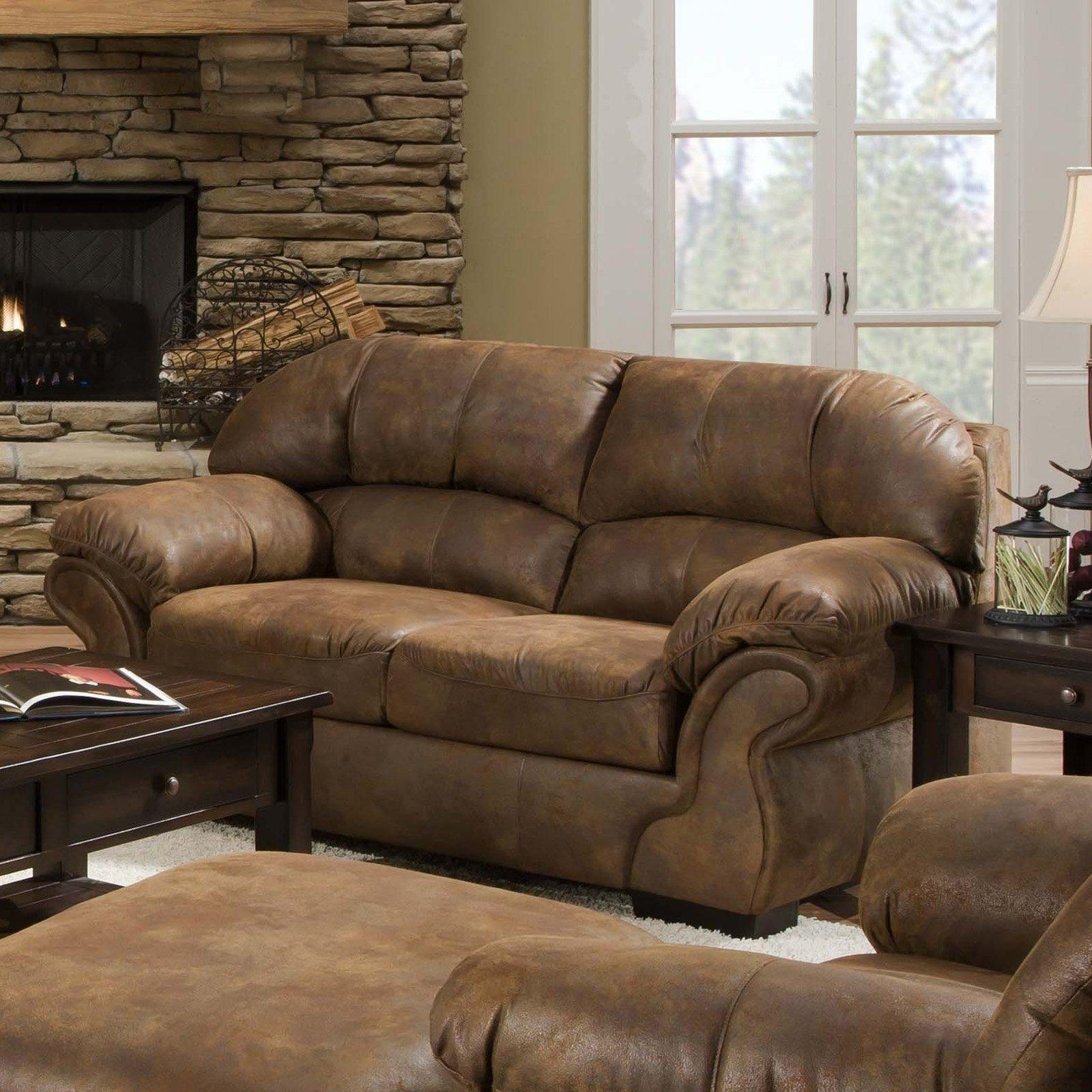 Living Room Ideas With Leather Furniture Intended For Warm With Regard To Bomber Leather Sofas (Image 12 of 20)