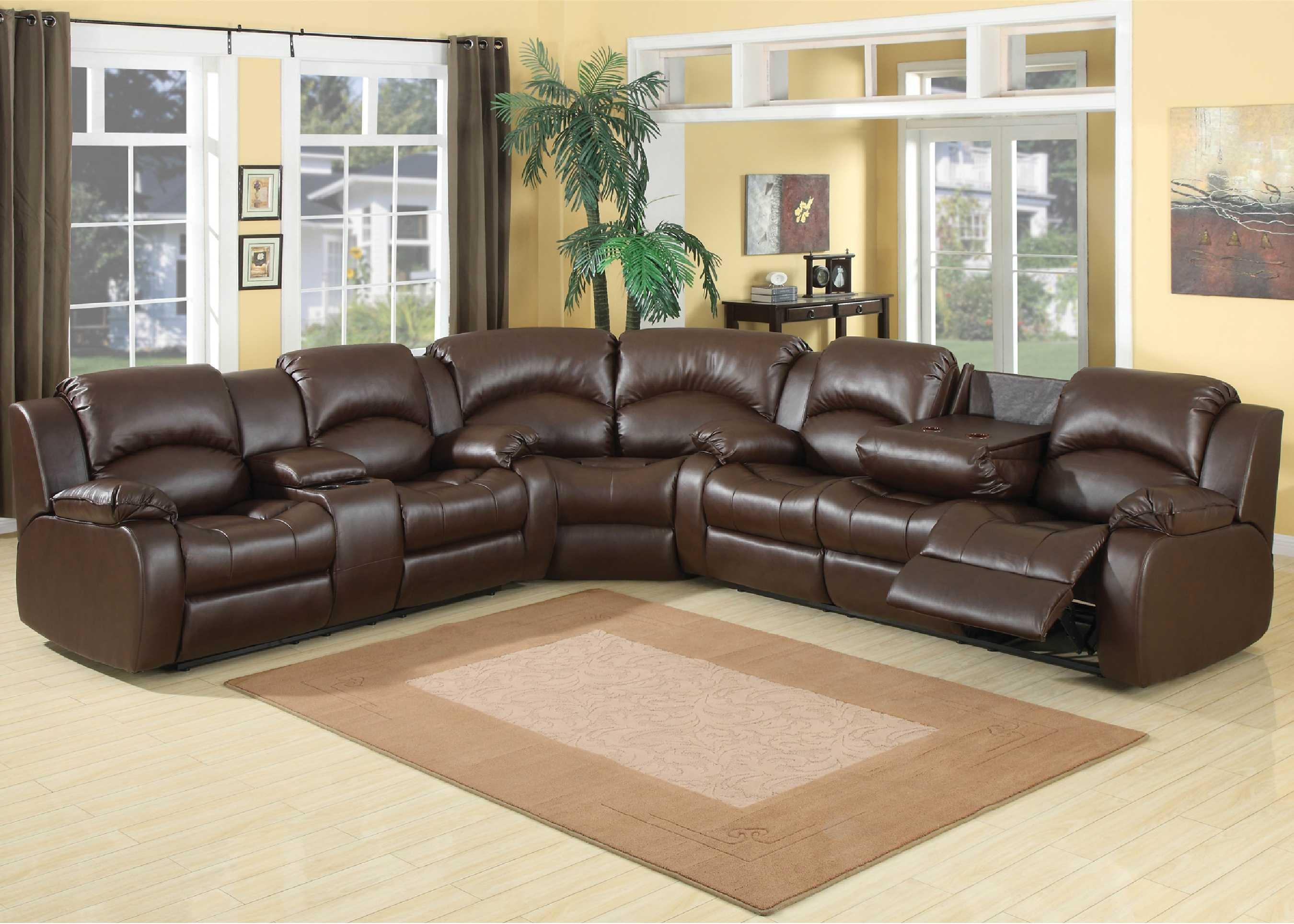Living Room : Large Leather Sectional Recliner Couch In Dark Brown With Large Leather Sectional (View 6 of 20)