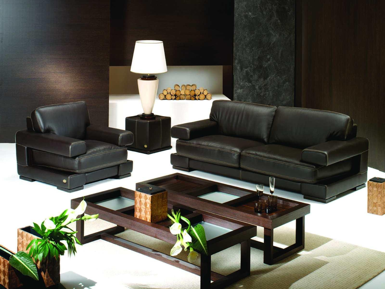 Living Room ~ Leather Couch Black Rack Standing Lamp Orange With Small Black Sofas (Image 5 of 20)