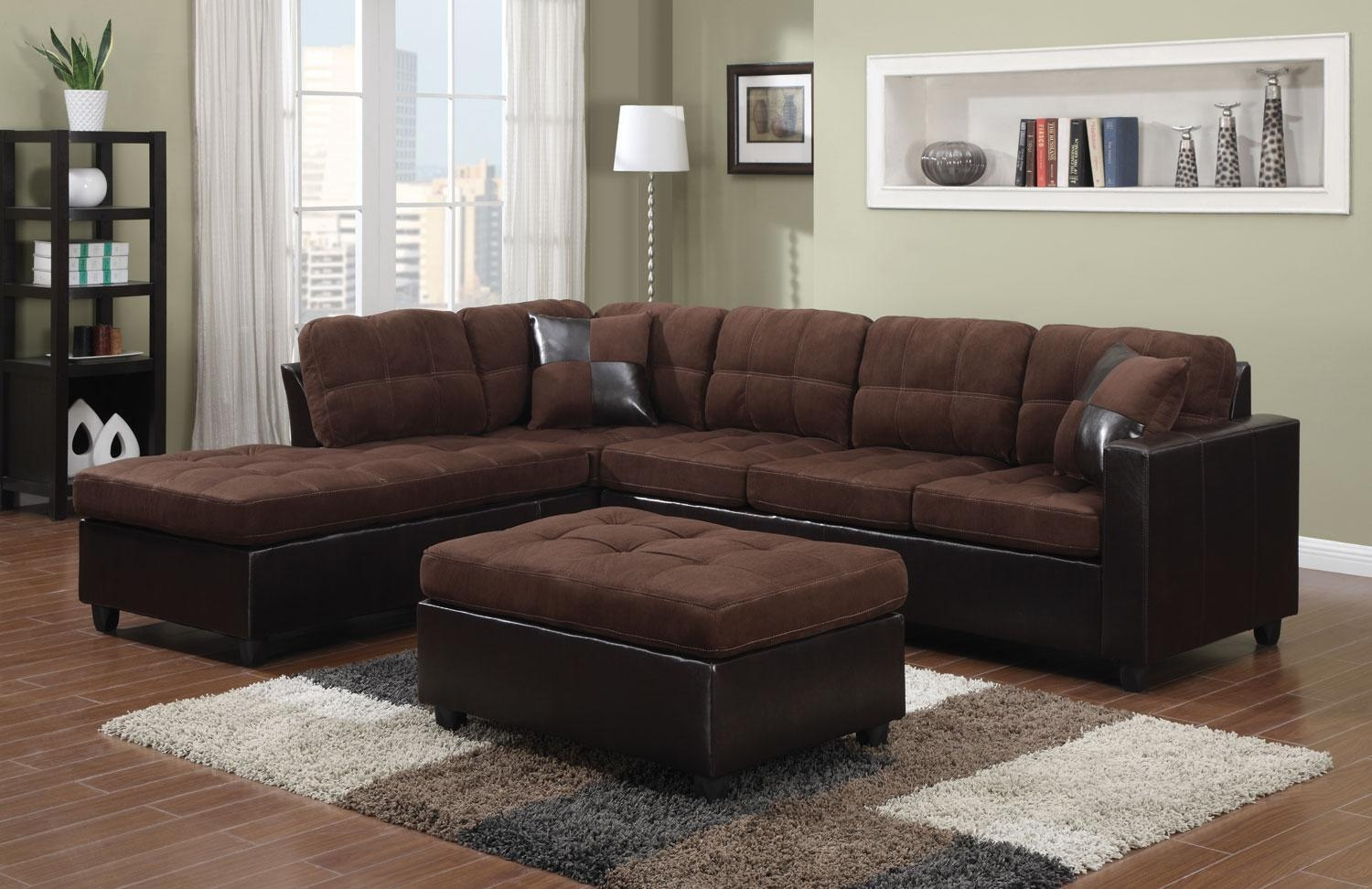 Living Room: Leather Suede Sectional Sofa | Coaster Sectional With Tufted Sectional Sofa With Chaise (Image 8 of 20)