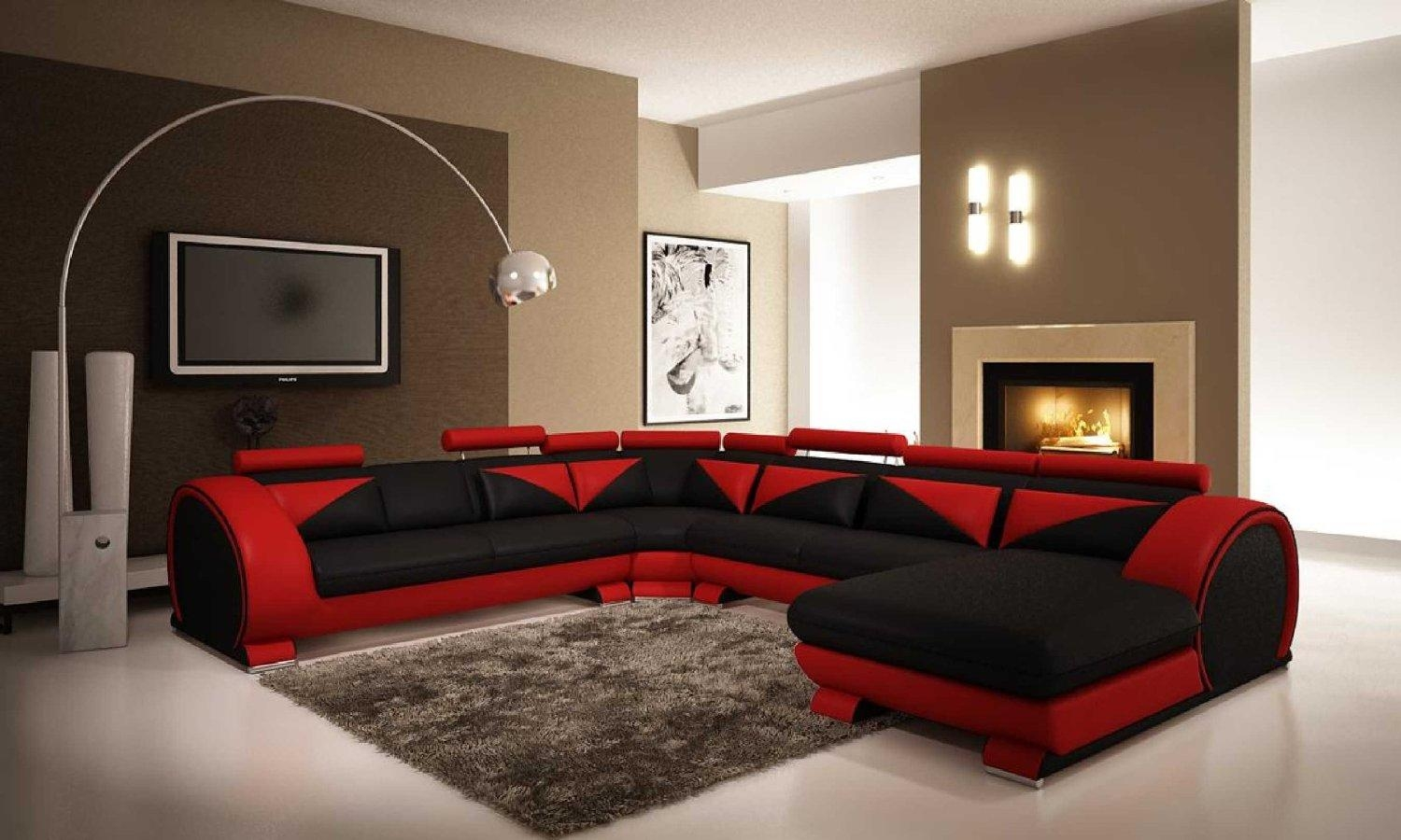 Living Room Modern Living Room Black And Red Modern Red And Black Pertaining To Red Black Sectional Sofa (Image 8 of 20)