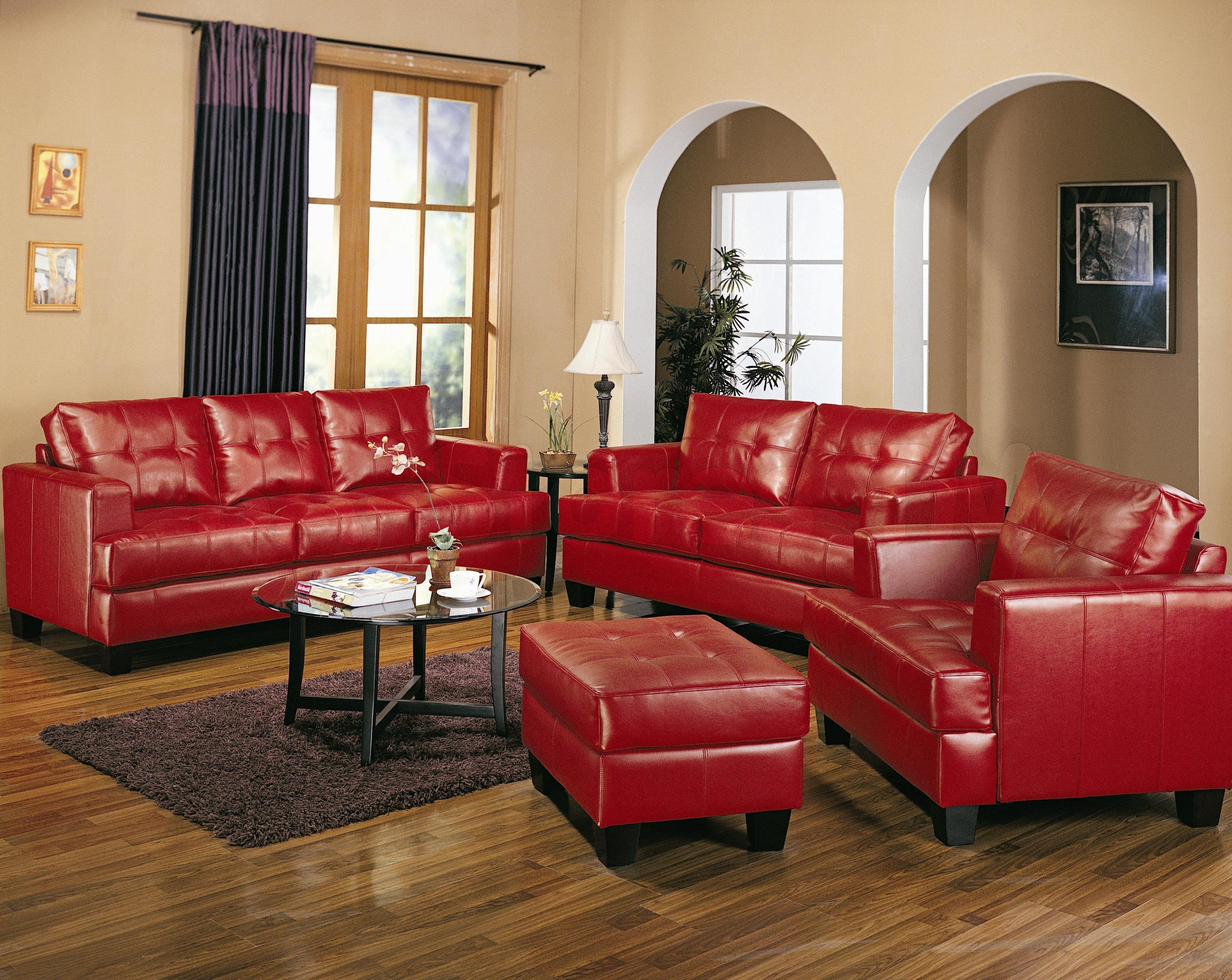 Living Room ~ Red Leather Sofa Dark Rectangle Coffee Table Light Regarding Dark Red Leather Couches (Image 11 of 20)