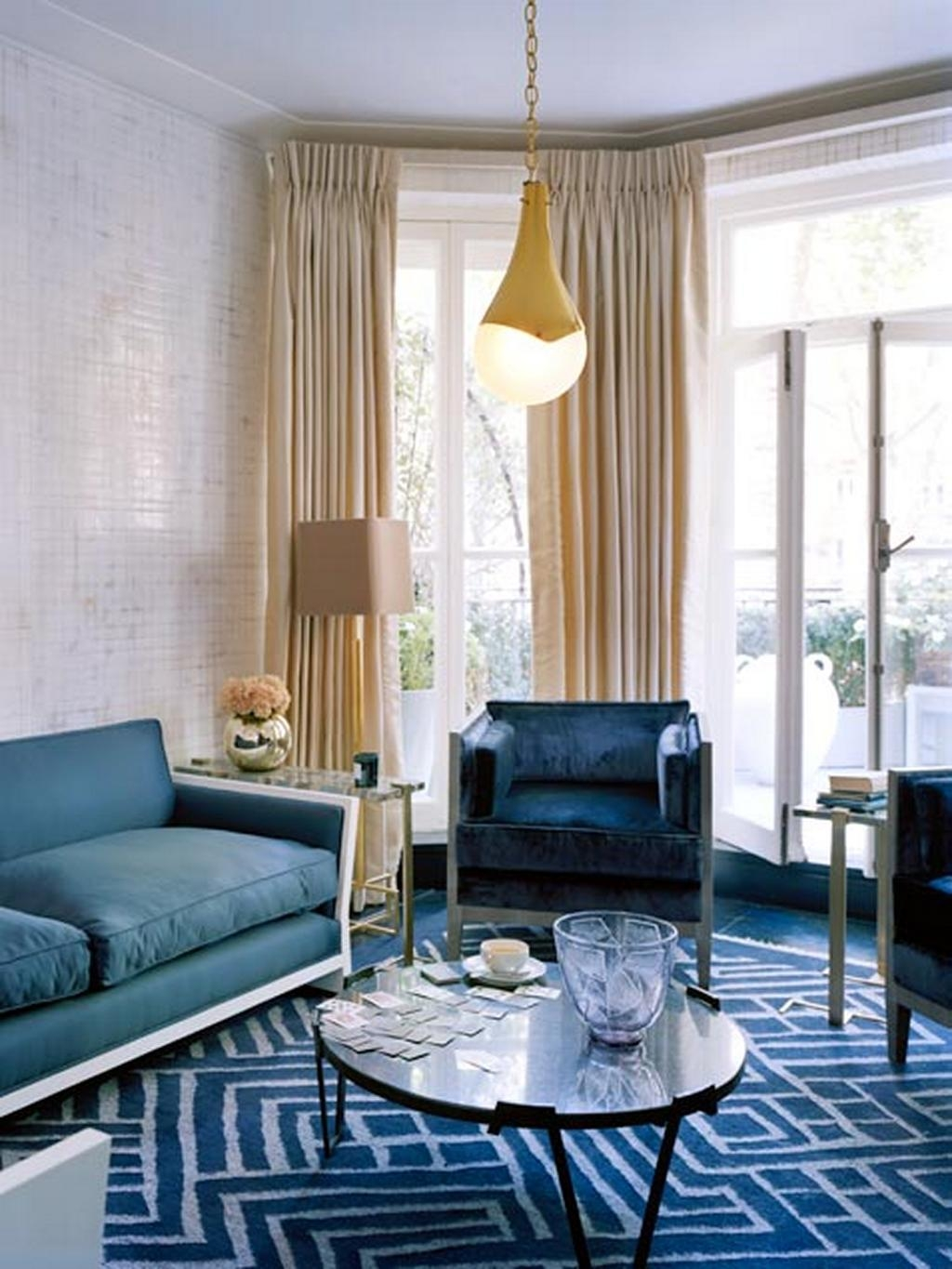 Living Room With Dark Blue Sofa – Pueblosinfronteras Throughout Blue And White Sofas (Image 16 of 20)