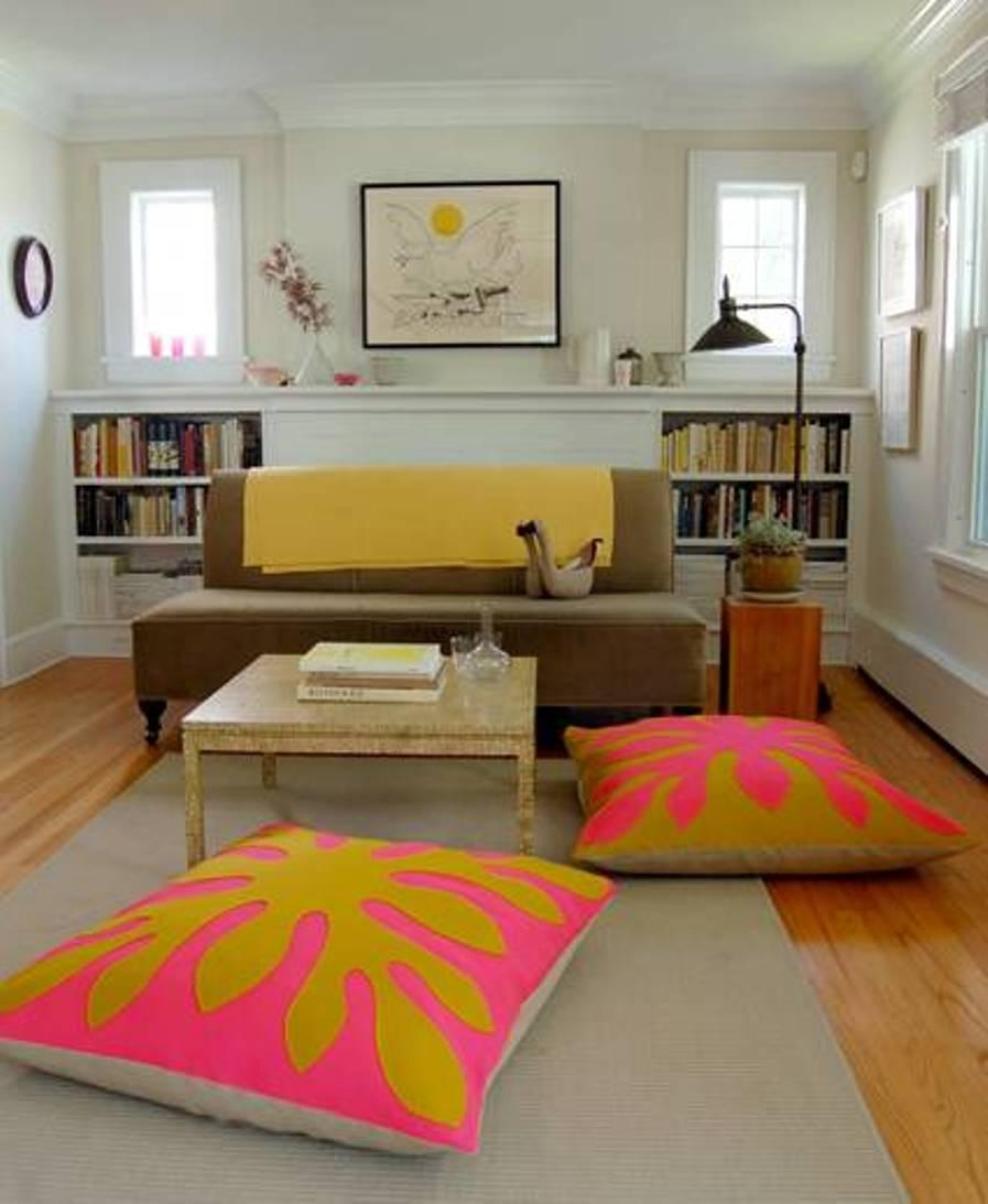 Living Room With Sofa And Coffee Table And Floor Cushion Seating In Floor Cushion Sofas (Image 13 of 20)