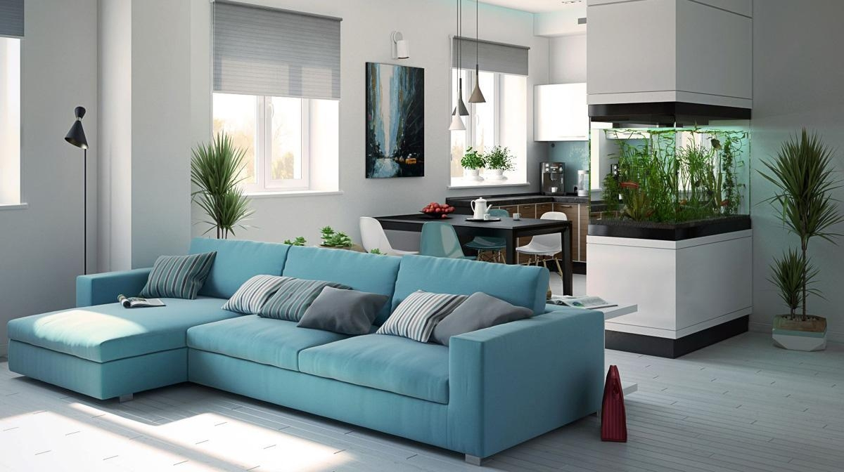 Living Room Wood Pendant Lamp Also Patern Fabric Sectional Sofa For Sky Blue Sofas (Image 11 of 20)