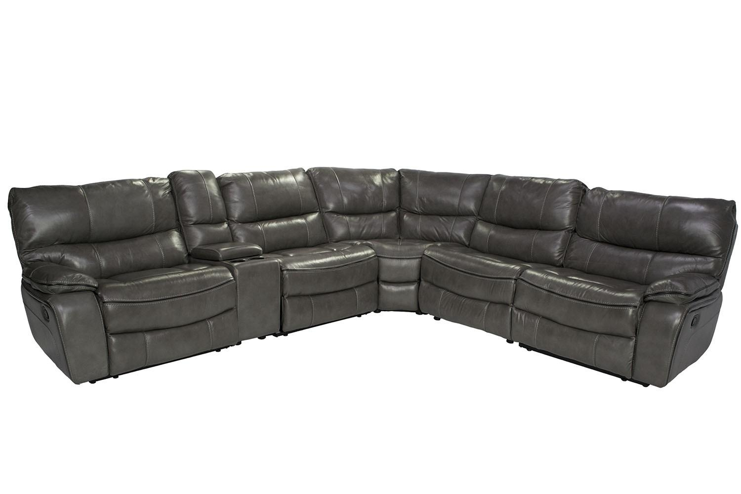 Lotus Gray 6 Piece Leather Seating Reclining Sectional | Mor In 6 Piece Sectional Sofas Couches (View 17 of 20)