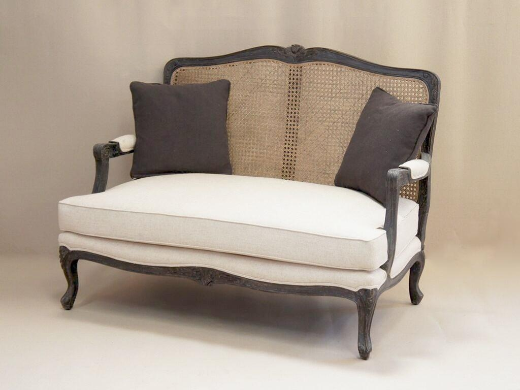 Louis French 2 Seater Sofa With Rattan Back | French Style Sofa With Regard To French Style Sofas (Image 11 of 20)