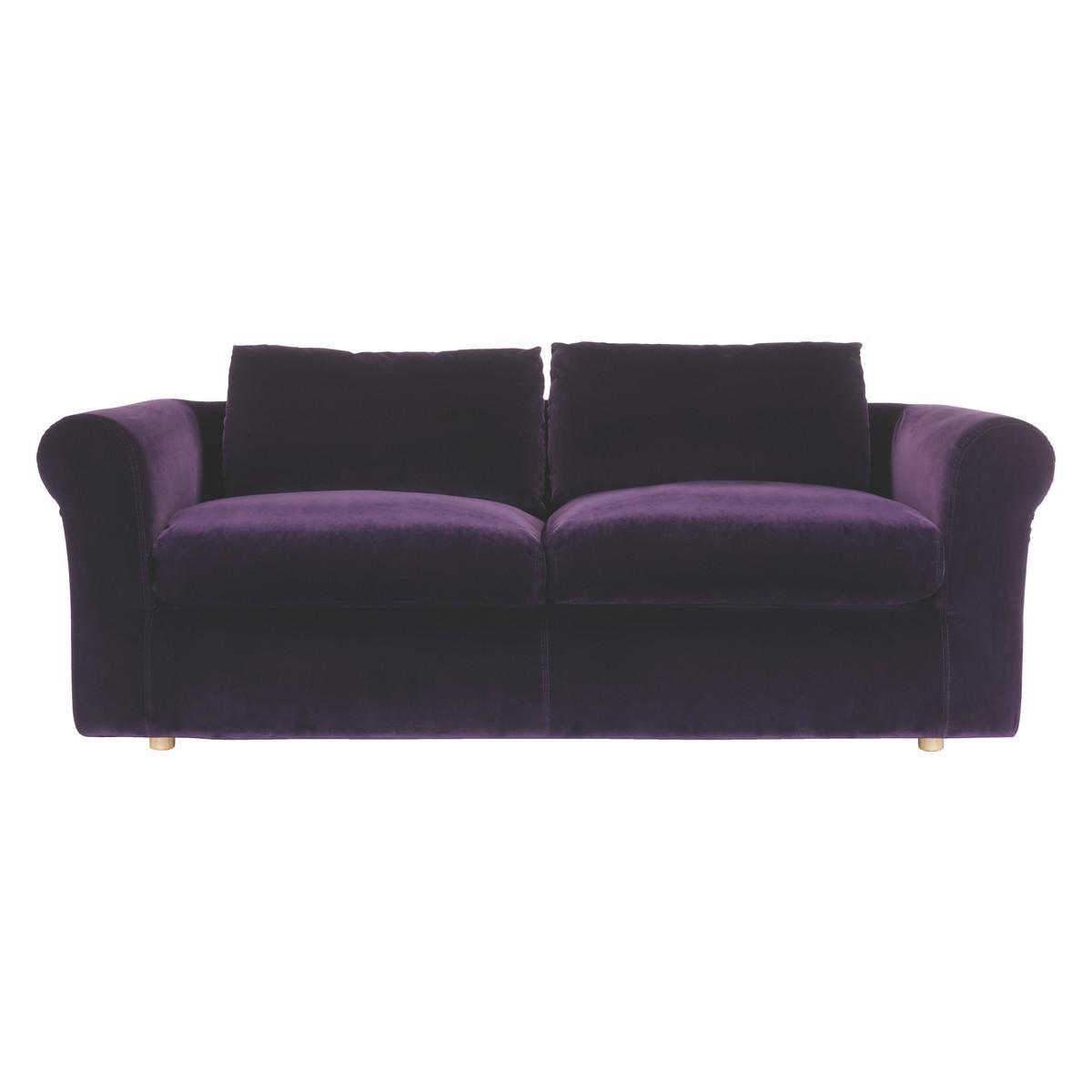 Louis Purple Velvet 3 Seater Sofa | Buy Now At Habitat Uk Regarding Velvet Purple Sofas (View 7 of 20)