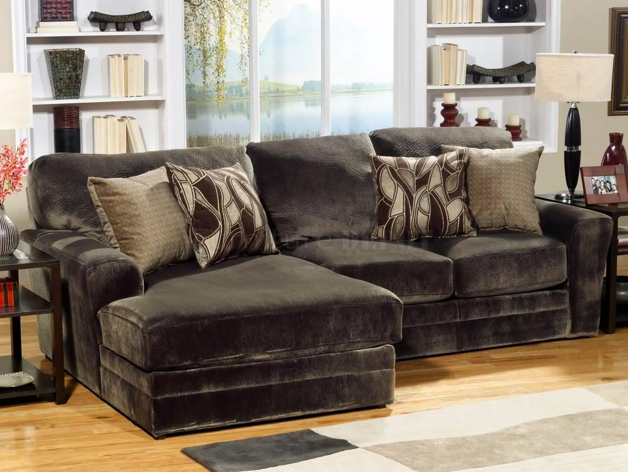 Lovely Gray Tufted Sectional Sofa 92 About Remodel Sectional Within Leather And Chenille Sectional (Image 15 of 20)