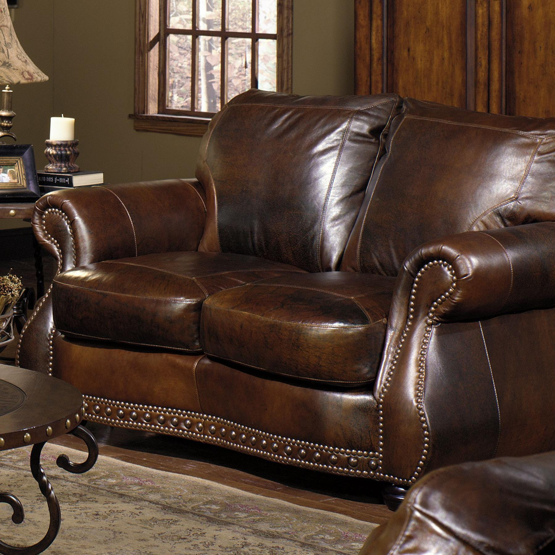 Loveseat W/ Nail Head Trimmingusa Premium Leather | Wolf And With Regard To Brown Leather Sofas With Nailhead Trim (Image 12 of 20)