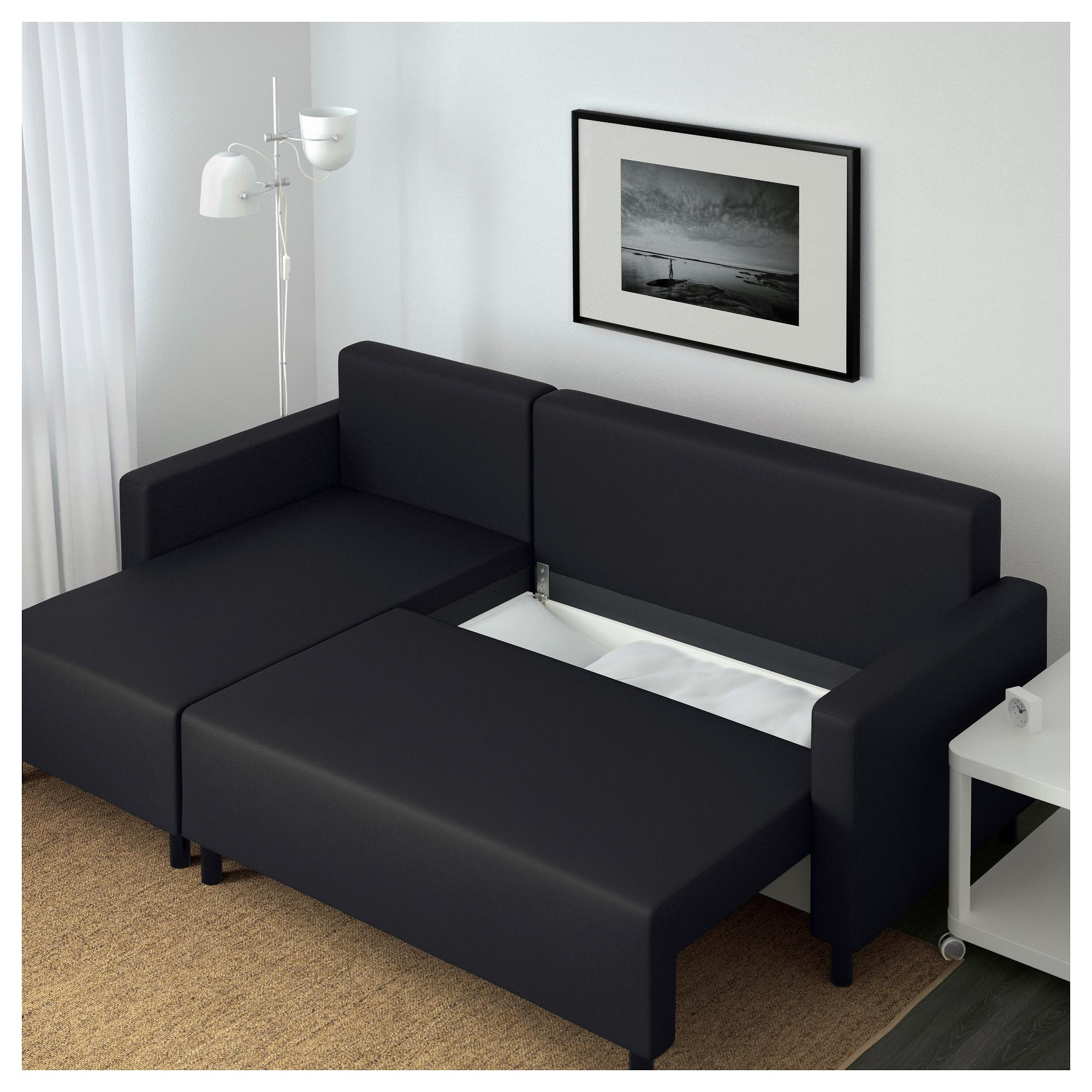 Lugnvik Sofa Bed With Chaise Longue Granån Black – Ikea For Chaise Longue Sofa Beds (View 15 of 20)
