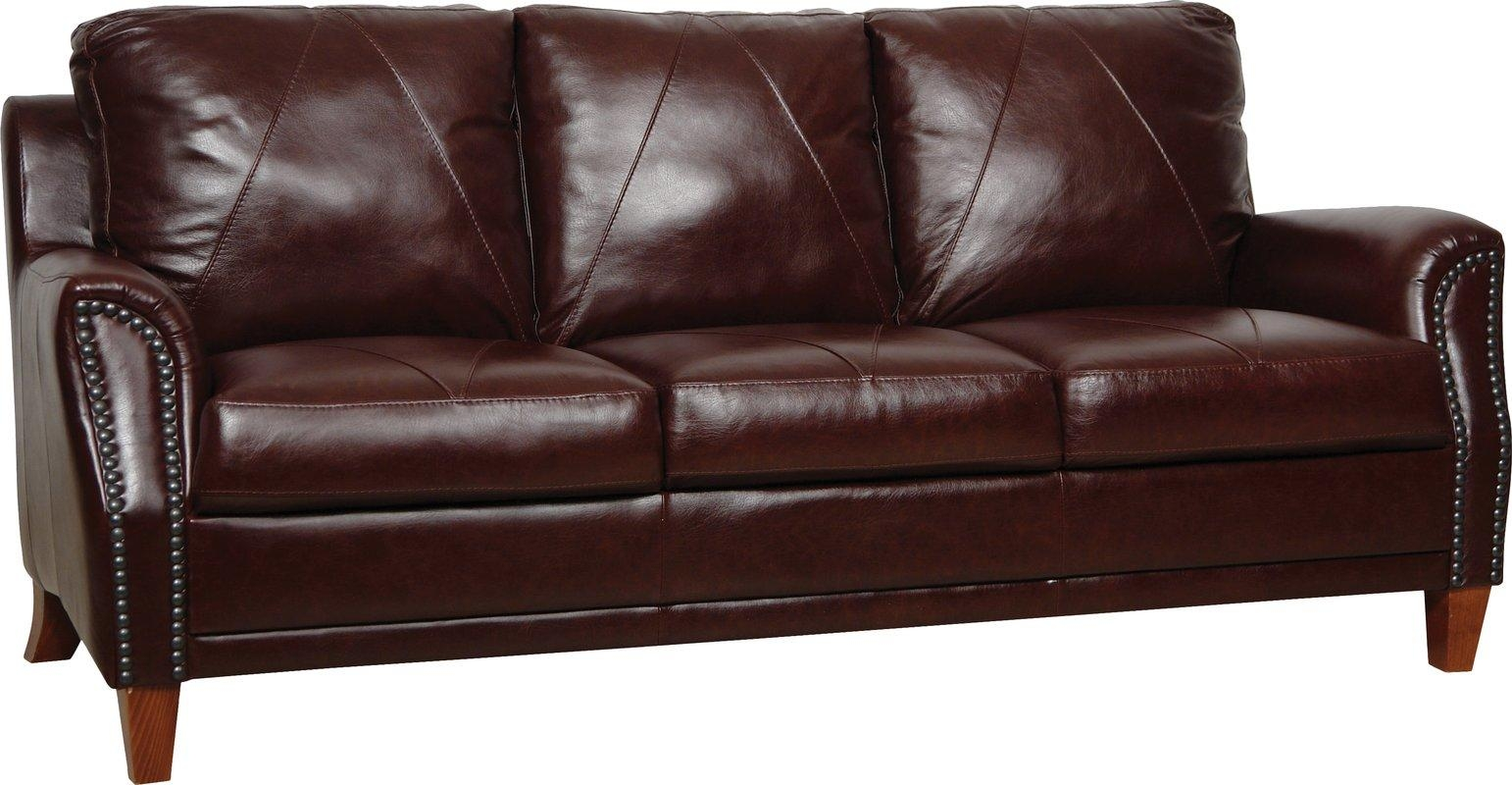 Luke Leather Austin Leather Sofa & Reviews | Wayfair For Brown Leather Sofas With Nailhead Trim (Image 13 of 20)