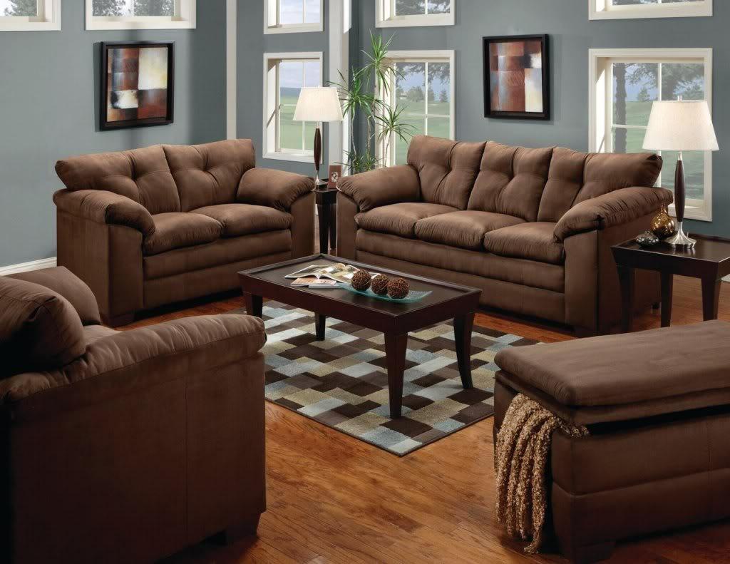 Luna Chocolate Sofa & Loveseat Casual Microfiber Living Room Inside Simmons Microfiber Sofas (View 6 of 20)