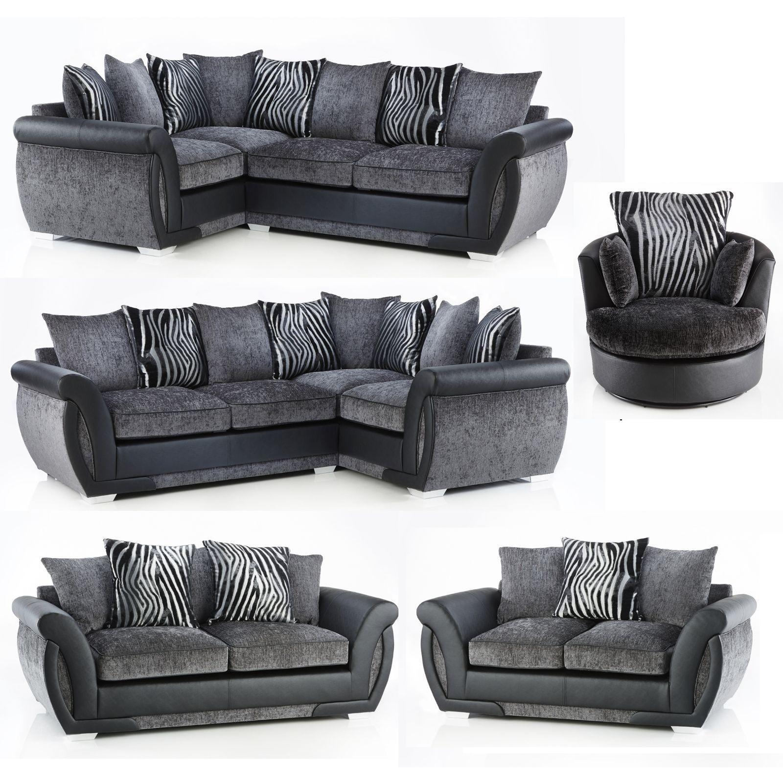 Lush Corner Sofa Or 3 + 2 Or Swivel Chair Black Grey Inside Corner Sofa And Swivel Chairs (View 3 of 20)