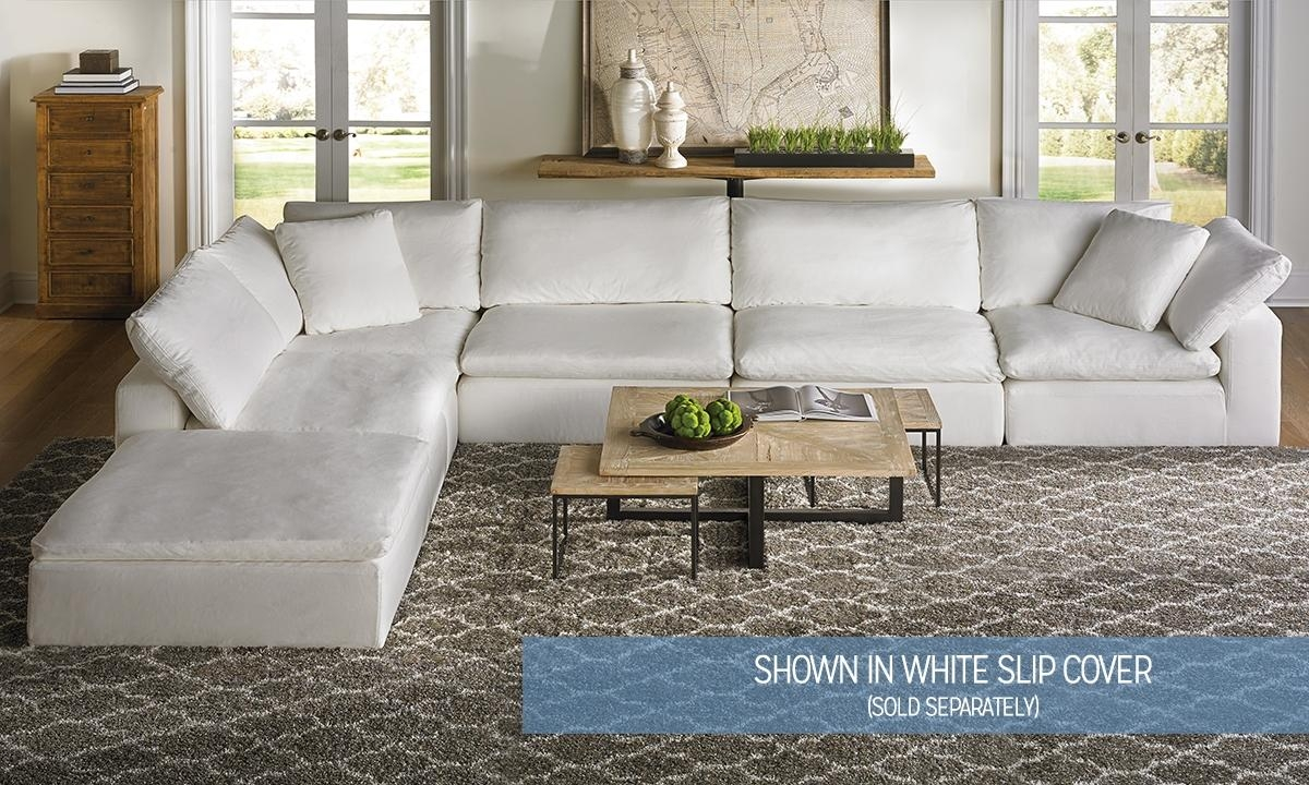 Luxe Slip Covered Sectional Sofa | Haynes Furniture, Virginia's With Cloud Sectional Sofas (View 9 of 20)
