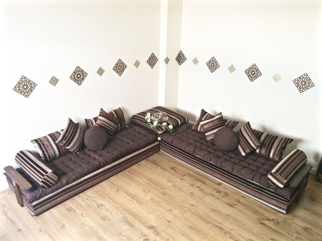 Luxurious Moroccan Floor Cushion, Sofa Bed, Double Futon Corner Pertaining To Floor Cushion Sofas (View 20 of 20)
