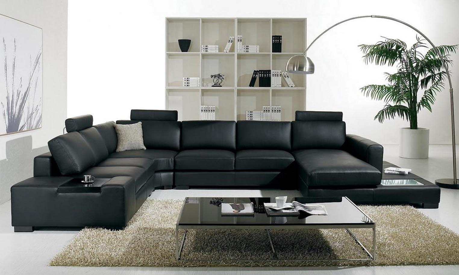 Luxury And Contemporary Black Leather Sofa With Sleeper (Image 9 of 20)