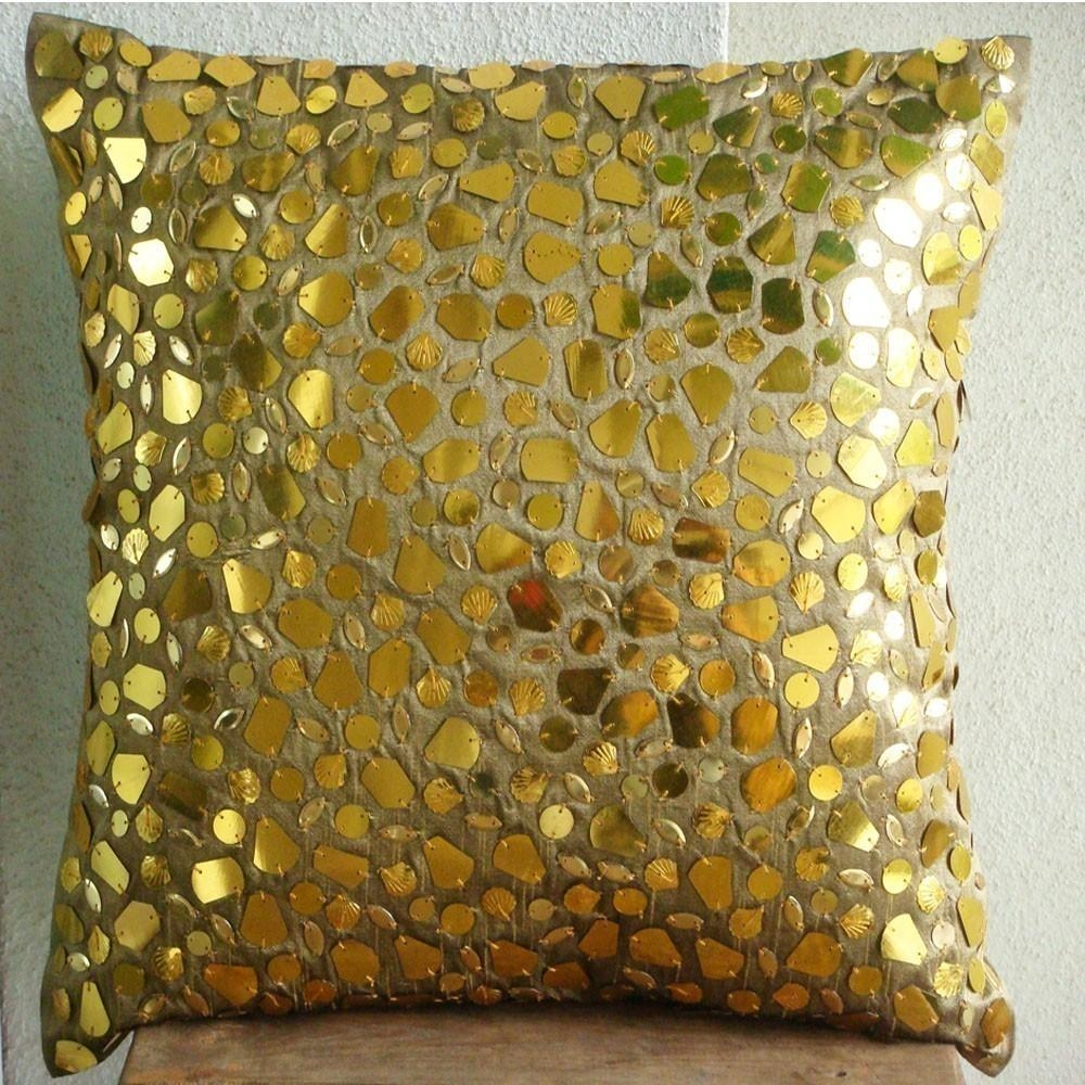 Luxury Gold Cushion Covers 16X16 Silk Pillows For Gold Sofa Pillows (Image 13 of 20)