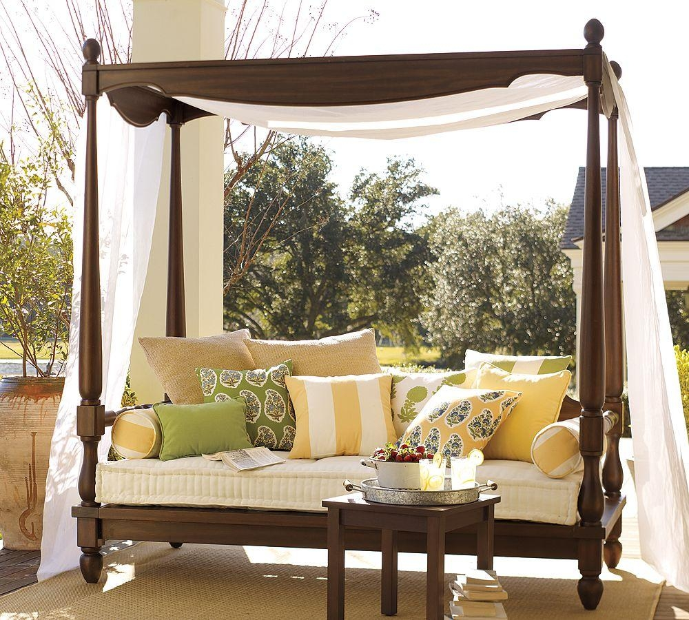 Luxury Wooden Outdoor Canopy Daybed Brown Finish Beige Quick For Outdoor Sofas With Canopy (View 10 of 20)