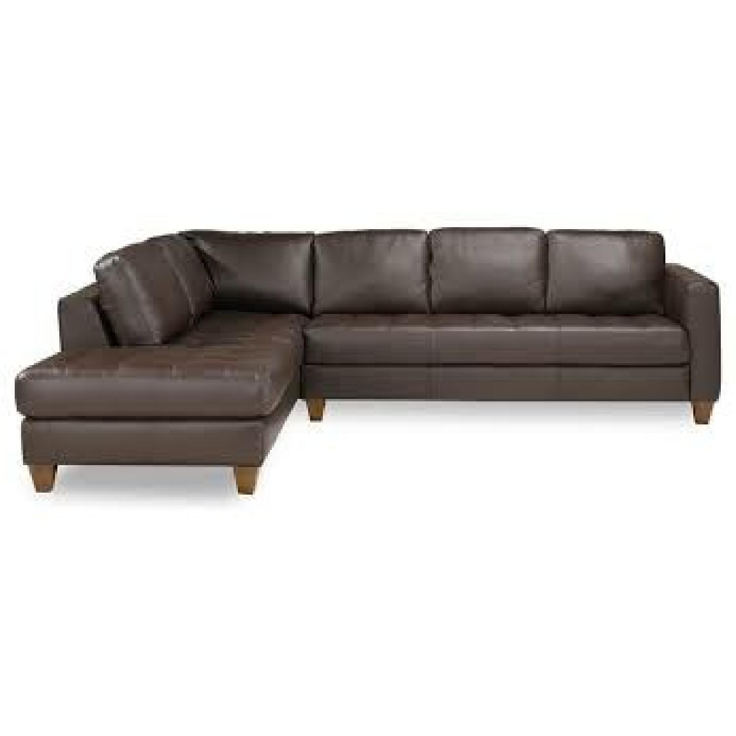 Macy's Milano Brown Leather Sectional Sofa – Aptdeco Within Macys Leather Sofas Sectionals (Image 6 of 20)