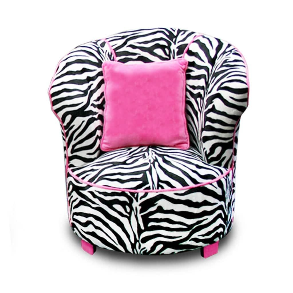 Magical Harmony Kids Minky Zebra Tulip Chair – Free Shipping Today In Kids Sofa Chair And Ottoman Set Zebra (Image 13 of 20)