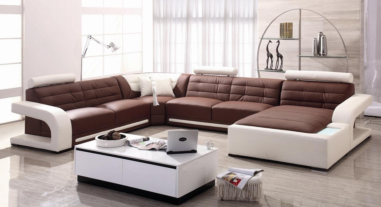 Magnificent U Shaped Chocolate Leather Modern Sleeper Sofa Grey Within The Bay Sofas (View 18 of 20)