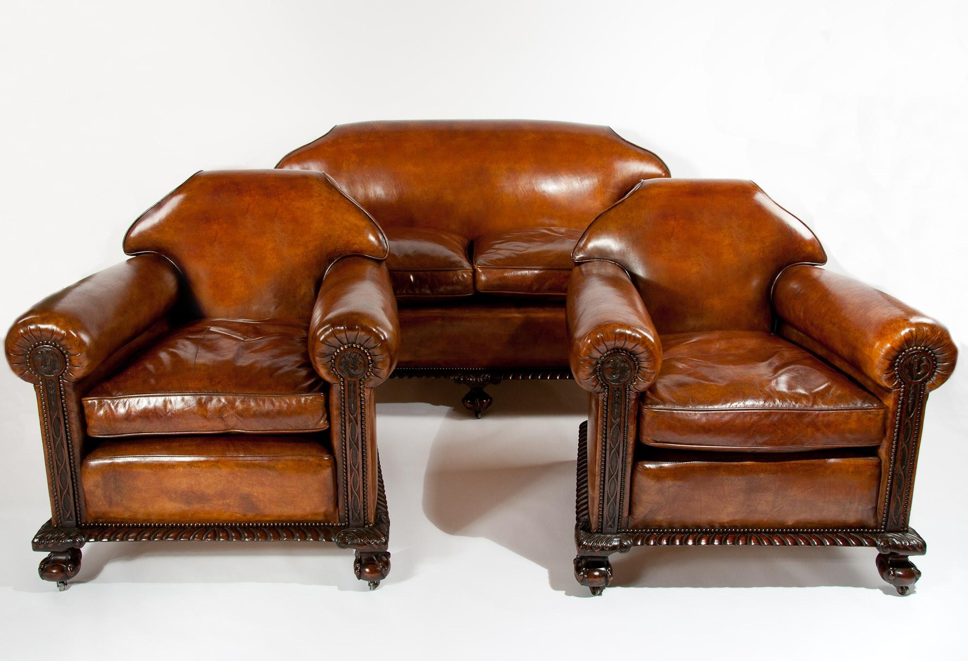 Magnificent Victorian Leather Sofa And Chairs 3 Piece Suite (1880 Within Victorian Leather Sofas (View 17 of 20)