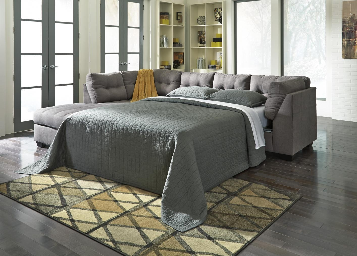 Maier Grey Fabric Sectional Sleeper Sofa - Steal-A-Sofa Furniture intended for Los Angeles Sleeper Sofas