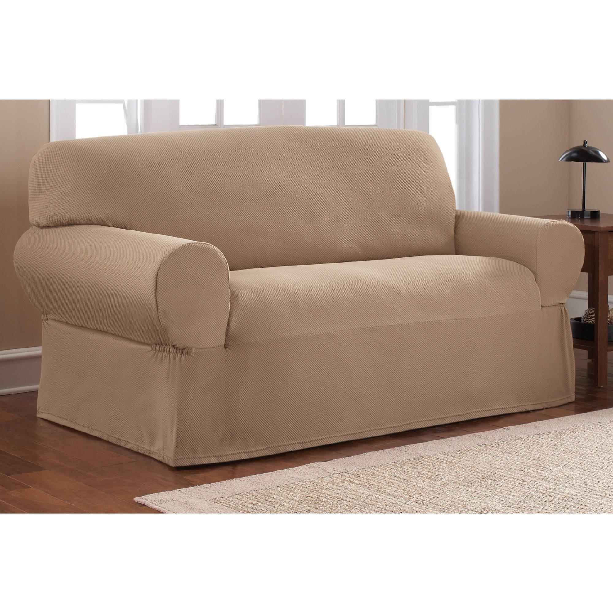 Mainstays 1 Piece Stretch Fabric Loveseat Slipcover – Walmart Regarding Stretch Slipcovers For Sofas (Image 7 of 20)