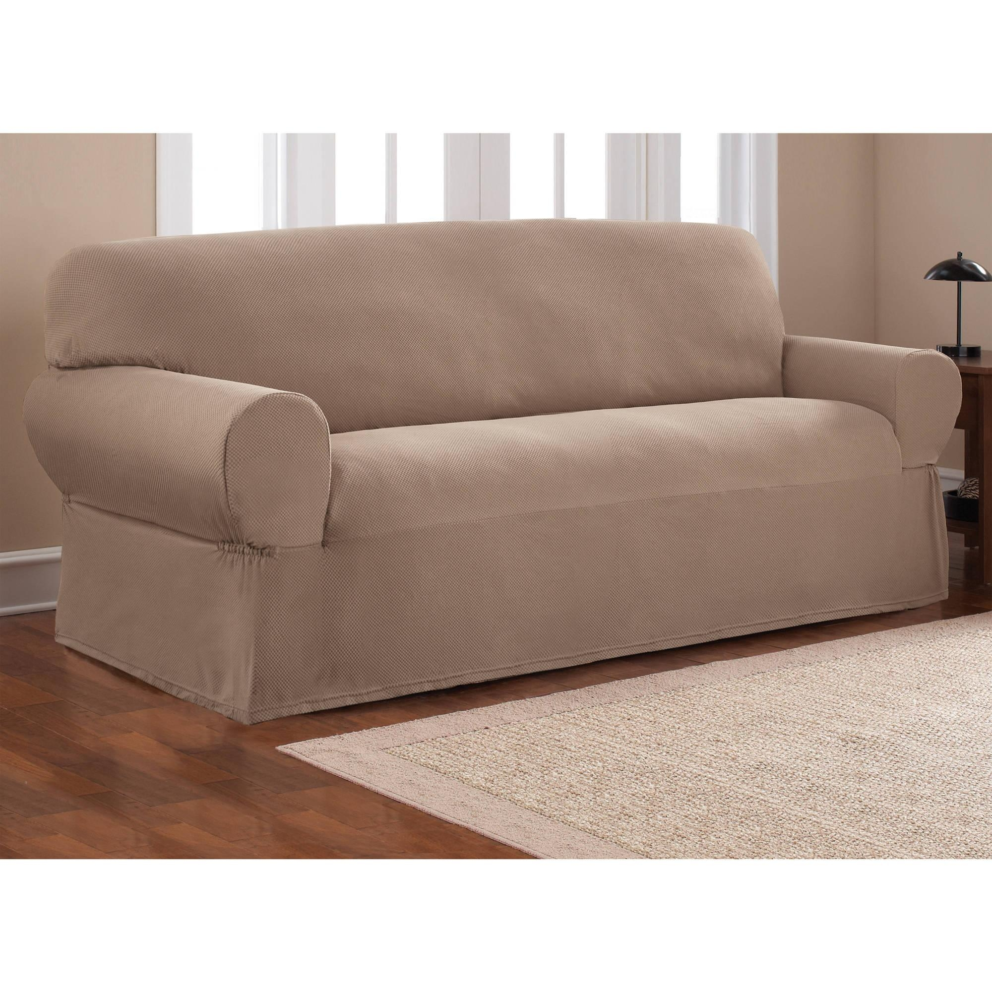 Mainstays 1 Piece Stretch Fabric Sofa Slipcover – Walmart Inside Loveseat Slipcovers T Cushion (Image 14 of 20)