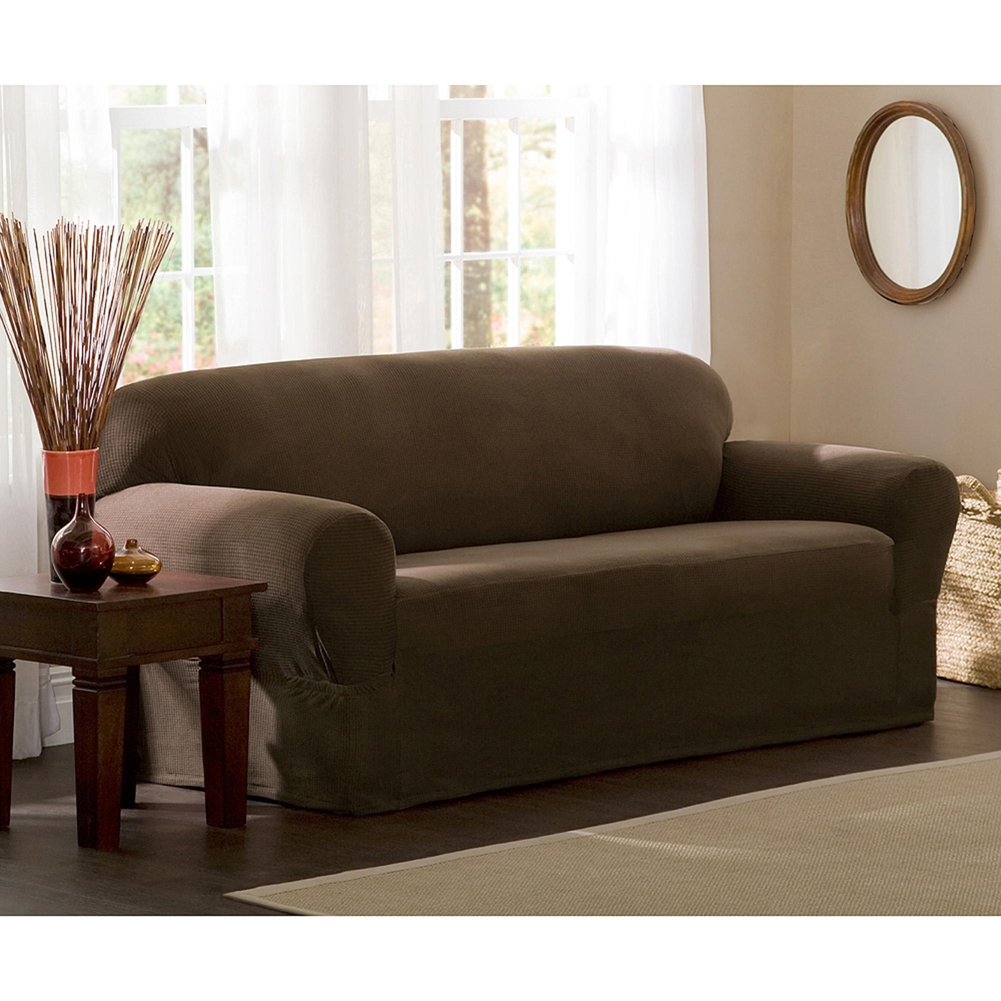 Mainstays 1 Piece Stretch Fabric Sofa Slipcover – Walmart Inside Loveseat Slipcovers T Cushion (Image 13 of 20)