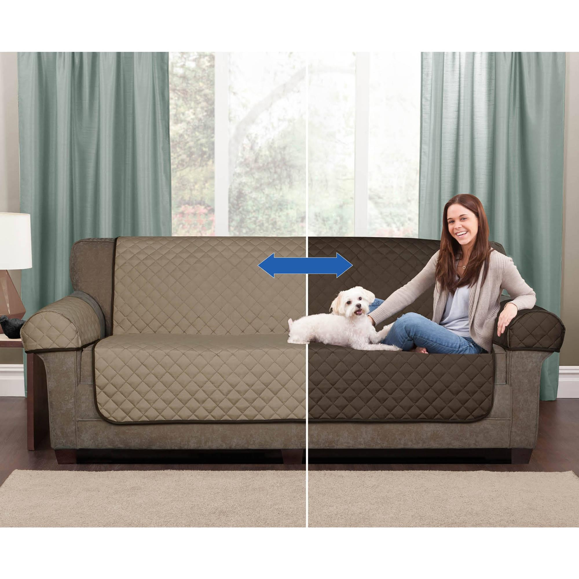Mainstays 1 Piece Stretch Fabric Sofa Slipcover – Walmart With Regard To Sofa And Loveseat Covers (Image 11 of 20)