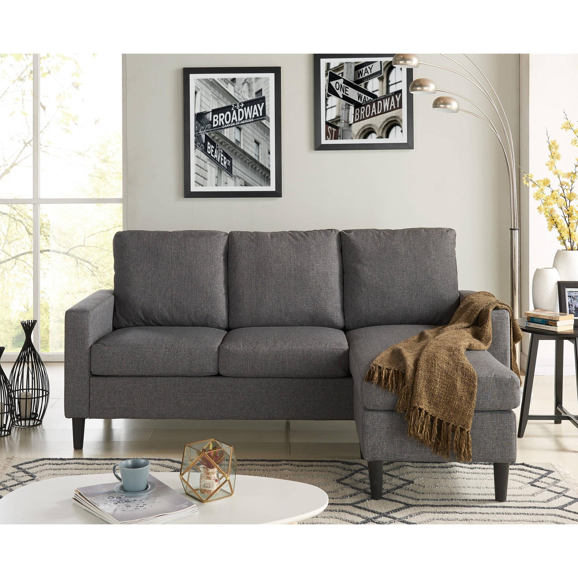 Mainstays Apartment Reversible Sectional – Walmart Pertaining To Mainstay Sofas (Image 6 of 20)