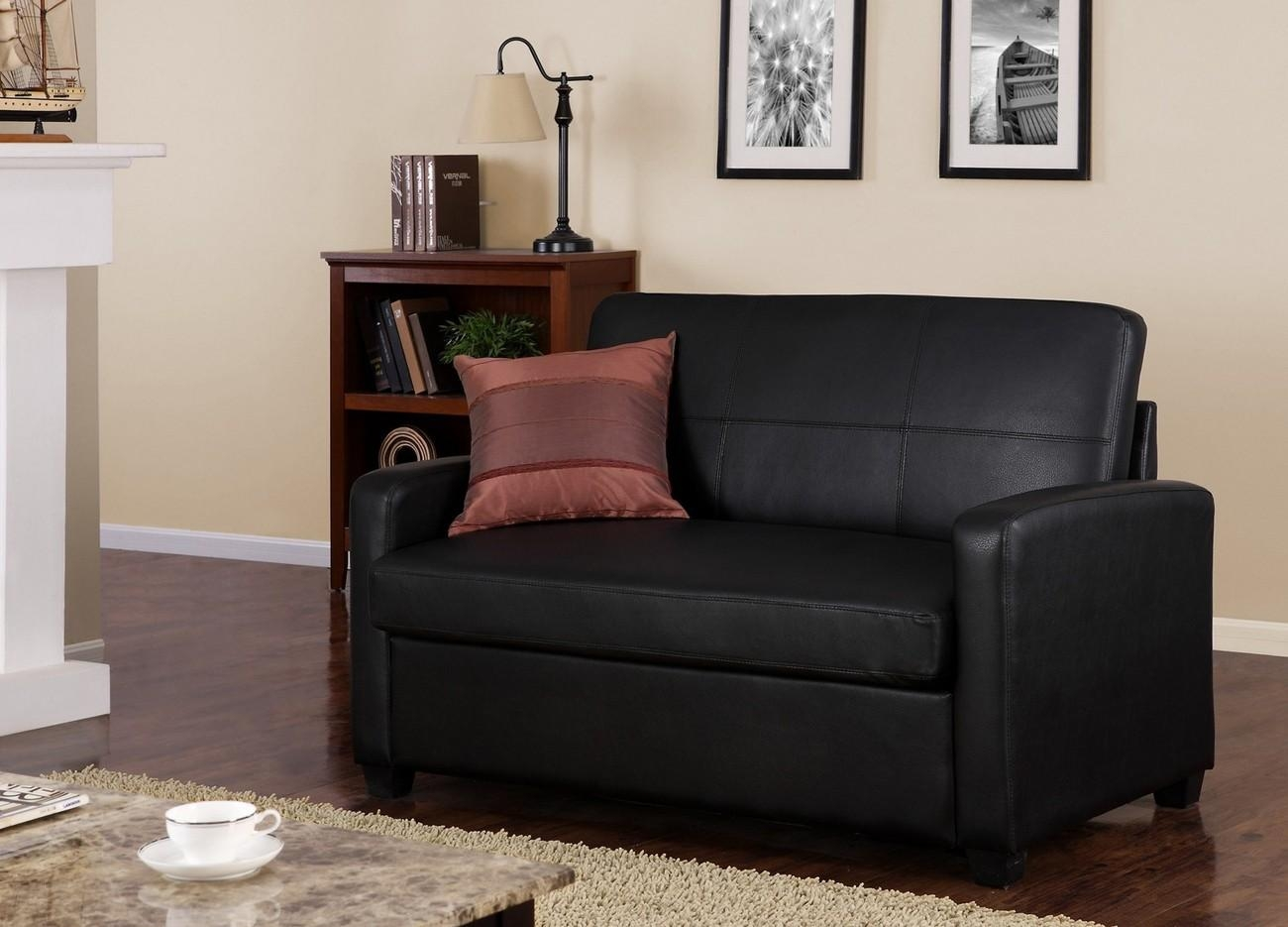 Mainstays | Black Faux Leather Sleeper Sofa With Regard To Mainstays Sleeper Sofas (Image 3 of 20)