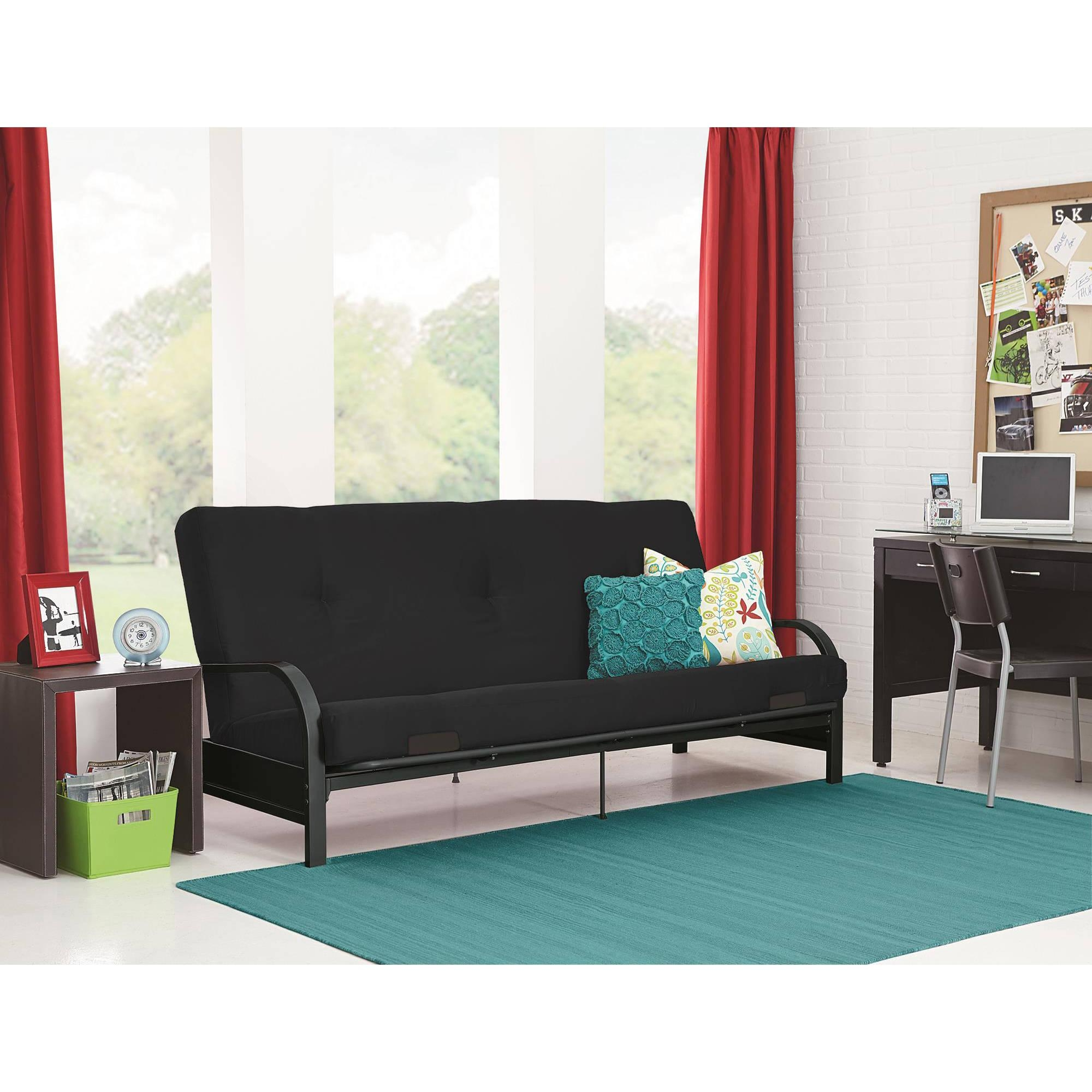 Mainstays Black Metal Arm Futon With Full Size Mattress – Walmart With Regard To Mainstays Sleeper Sofas (View 8 of 20)