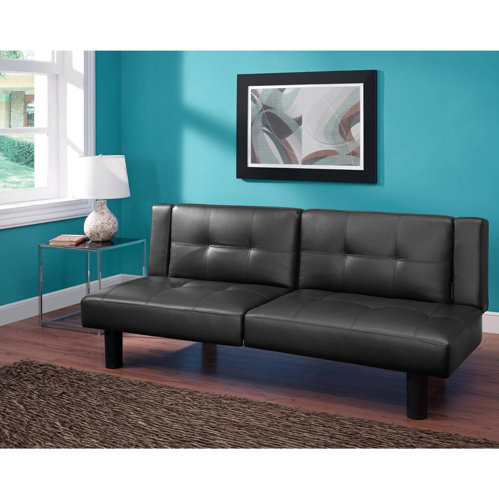 Mainstays Connectrix Faux Leather Futon, Multiple Colors – Walmart Throughout Mainstay Sofas (Image 11 of 20)